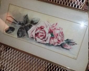 Antique Roses Painting Watercolor Romantic Cottage