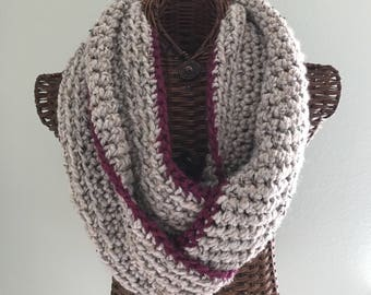 Crocheted infinity scarf in gray with purple trim, chunky wool blend yarn