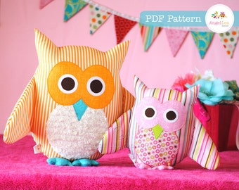 Owl Pattern. PDF Sewing Pattern for Owl Soft Toy, Cushion, Pillow, Plushie, Home Decor, Easy How To, Make and Sell, DIY, Instant Download
