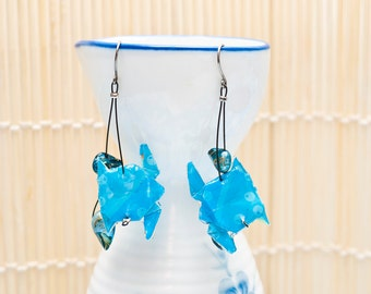 Origami earrings turtle in blue with blue-green baroque pearls eco-friendly jewelry
