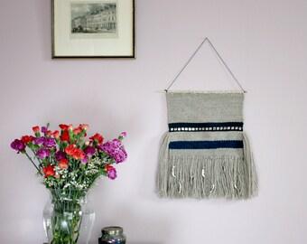 Grey wall tapestry, Moon tapestry, Light grey tapestry, Tapestry wall hanging, Hygge, Wedding gift, Handwoven tapestry, Textile wall hanging