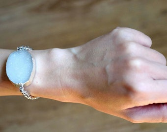 Big White Druzy Stainless Steel Chain Bracelet