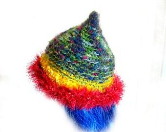 Freeform Spiral Rainbow Crochet Hat