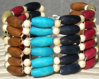 Wood Bracelet, Beaded Bracelet, Wooden Bracelet, Handmade Jewelry, Beaded Cuff, Gift for Her, Colorful Jewelry, Boho Chic Jewelry