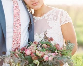 Cravate rose, Liberty of London cravate, cravate rose sur mesure, vous choisissez couleur, cravate de mariage blush, garçons d'honneur cravate, cravate floral blush, fête de mariage