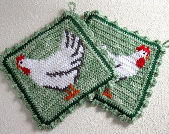 Chicken Potholders. Green crochet pot holders with a white rooster and white hen. Farm house decor. Chicken gift