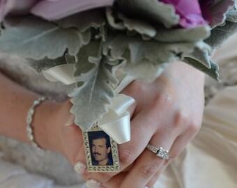 Wedding Bouquet Charm, Bridal keepsake, RECTANGLE, Personalized, custom photo or image