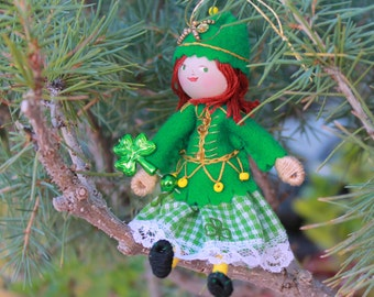 St Patrick's Day Hanging Ornament, Cecilia the Celtic Dancer, Art Dolls and Miniatures