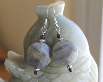 Coin Labradorite with Red Garnet Earrings, sterling silver hook
