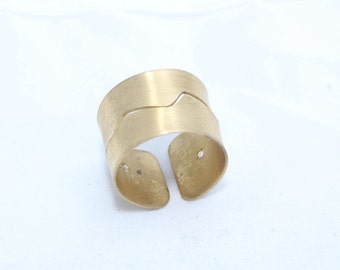 Raw Brass Adjustable Ring Setting , Wide Rings , Cuff Rings , Ring Shank, 18mm , Adjustable Ring , Handmade , LA35