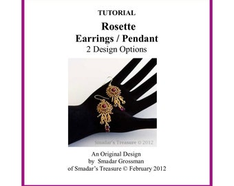 Beading Tutorial, Rosette Pendant or Earrings, 2 Variations. Pattern with Seed Beads and Crystals. Jewelry Making Pattern, Beadweaving PDF