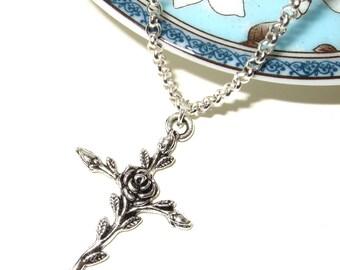Rose Cross Necklace, Crucifix Pendant, Silver Cross, Simple Necklace, Everyday Jewelry, Rose Crucifix, Flower Cross, Feminine Crucifix,