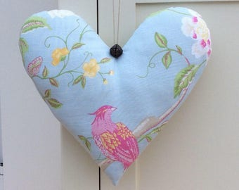 Large Handmade Hanging Fabric Heart Decoration ~ Laura Ashley Summer Palace Duck Egg Cotton/Linen Fabric