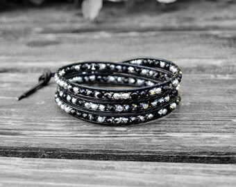 Leather Bracelet Beaded Wrap Bracelet Leather Wrap Bracelet 4mm Beaded Bracelet with Black Leather Cord Gift For Her Birthday Gift
