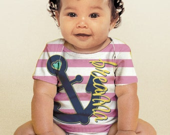 Anchor Baby Shirt, Personalized Baby Girl's Nautical Snap-Shirt Outfit