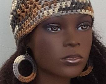 Gray Earth Tones Crochet Skullcap Beanie and Earrings by Razonda Lee Razondalee