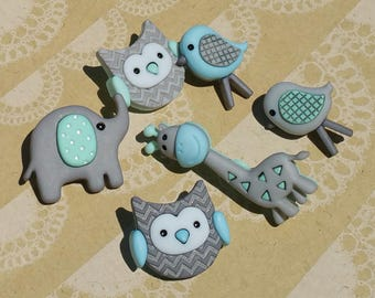 """Jungle Baby - Aqua Turquoise Gray Animal Babies - Darling Detailed Shank Sewing Button - From 1 1/2"""" Tall - 6 Buttons"""