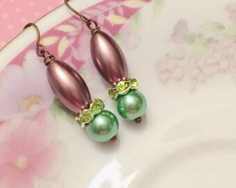 Green Pearl Earrings, Green Rhinestone Earrings, Purple Pearl Drop Earrings, Purple Dangle Earrings, Spring Earrings, KreatedByKelly