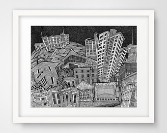 Dublin City Theatres Illustration Print - Abbey, Gaiety, Bord Gais, Gate, Culture, Play, Black and White, Architecture, Detailed, Collage