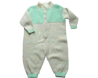 FRENCH VINTAGE 70's / baby jumpsuit / knitted overalls / hand knitted / size 9 months