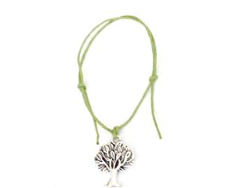TREE OF LIFE Friendship Bracelet - Green Cord - Hippy Boho