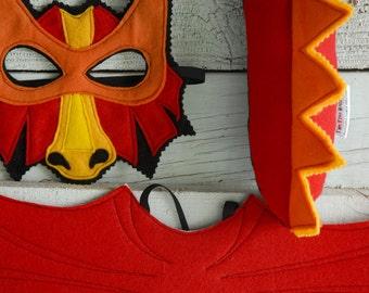 Red Dragon Costume - Felt Mask, Wings, Tail, & Vest - Eco Felt or Wool Felt