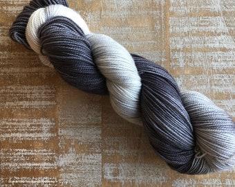 Hand Dyed Yarn, Sock Weight Superwash Merino Wool, Indie Dyed, 100% Merino wool, 2 ply, charcoal, grey, white, dip dyed