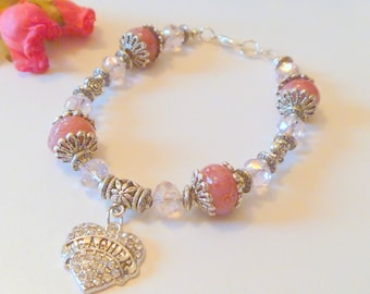 Pink Lampwork and Crystal Beaded Bracelet with Rhinestone Heart Teacher Charm