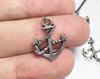 Anchor Charms, anchor pendant, nautical charms, silver anchor charms, ocean charms, ship anchor, silver anchor pendant (set of 6)