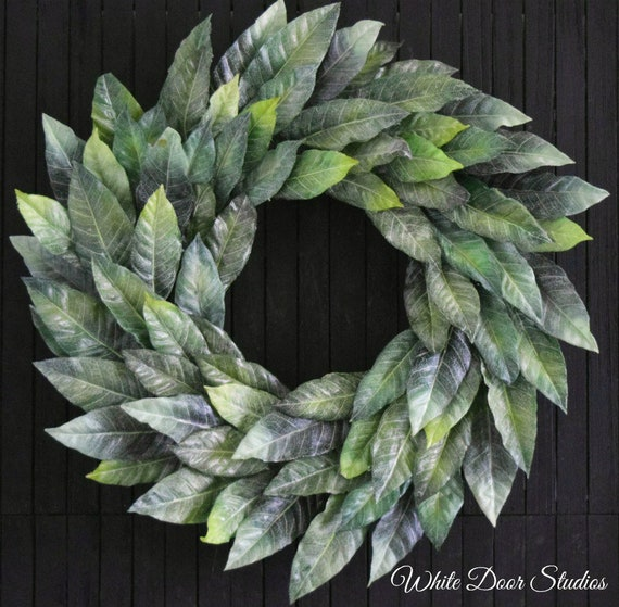 Faded Magnolia Leaf Year Round Farmhouse Style Front Door Wreath