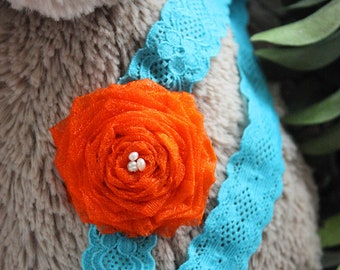 3 to 6m Infant Flower Headband Orange Teal Baby Lace Headband Rose Girl Headband Pearl Baby Headband Baby Girl Photo Prop Costume  Baby Gift