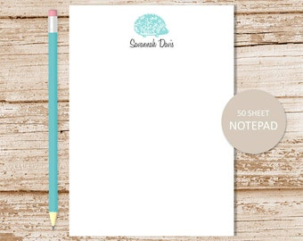 personalized hedgehog notepad . hedgehog note pad . personalized stationary . porcupine stationery . woodland forest animal