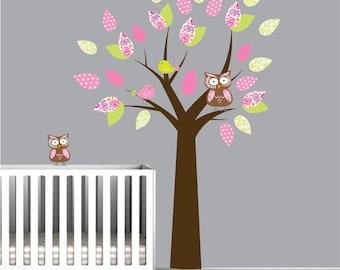 Tree with Pattern Leaf Birds-Kids Nursery Wall Sticker