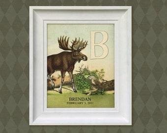 Nursery Art Print - 8x10 Personalized Moose Woodland, Baby Room Decor