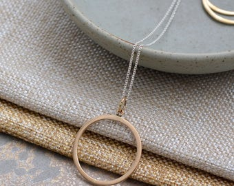 Minimalist Layering Necklace Bronze Circle Open Circle Pendant, Sterling Silver Chain Bohemian Geometric Jewelry Gifts for Her,  BS171104C