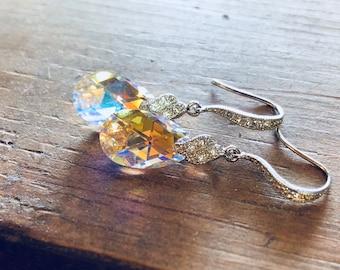 RESERVED. Bridal Earrings, Crystal Earrings, Swarovski Cubic Zirconia Earrings, CZ Sparkle, Bridesmaids Earrings, Drop Earrings