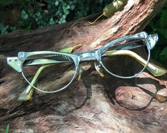 Cat Eye Glasses, Cat Eye Glasses Frames, Silver Cat Eyeglasses, Chrome Cat Eye Glasses, Vintage Eyeglasses, Vintage Eyewear, SRO Cat Eyes