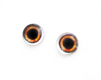 6mm Wide Brown Doll Glass Eyes Cabochons - Tiny Glass Eyes for Jewelry or Doll Making - Set of 2
