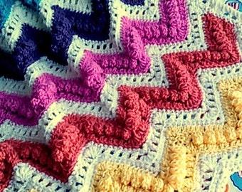 Digital Pattern - Chevron Bobble and Eyelet Crochet Baby Afghan or Lap Blanket Pattern. Baby Nursery Decor. Crochet Baby Blanket.