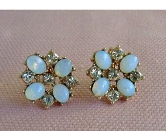 Vintage Screw Back Earrings Moonstone Earrings Wedding Jewelry Dressy Earrings