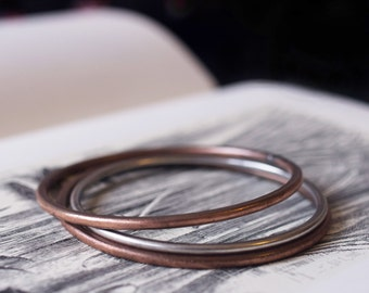 solid copper sterling silver bangles bracelets set rustic distressed rough raw 8g 10g 3mm 2.5mm set of three
