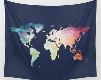 Map Tapestry, Navy Tapestry, World Map Wall Hanging, Globe Tapestry, World Map Decor Painted Map, Color Map Wall Hanging, Travel Tapestry