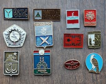 Badges ussr, Badges pins, Soviet metal badges, 12 badges on pins, USSR, different badges, set # 30