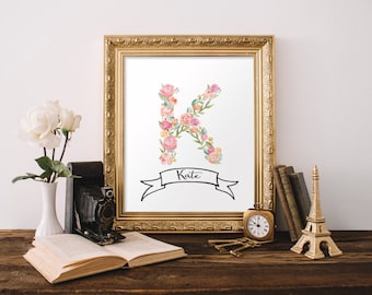 Letter art, Personalized gift printable, Initial print, Nursery letters girl, Nursery wall art, Monogram art, Initial art BD-859
