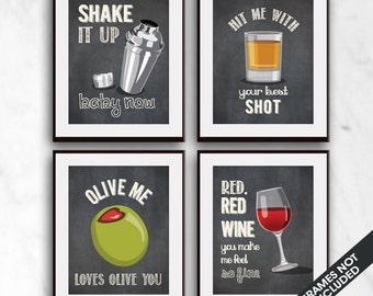 Shake it, Shot, Olive Me, Red Wine (Funny Kitchen Song Series) Set of 4 Art Prints (Featured in Vintage Chalkboard) Kitchen Art