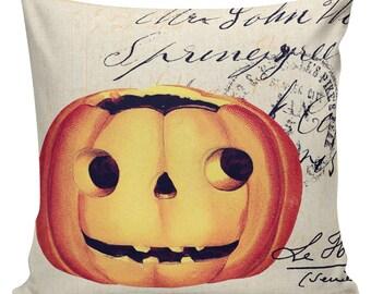 Halloween Pillow Vintage Jack O Lantern Pumpkin Postcard Burlap Cotton Throw Pillow Cover #HA0144