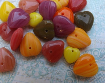 Glass  beads , candy colors , heart , valentine , Czech