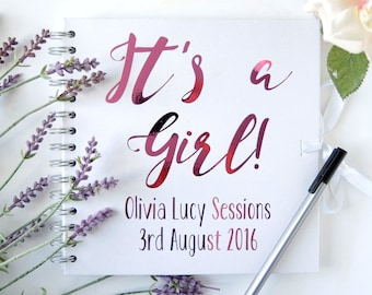 New Baby Girl Guest Book. New Baby girl memory book. New born baby memory book