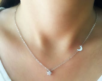 Sterling Silver star Necklace, moon Necklace, Minimalist necklace, layering necklace, star and moon necklace, sterling silver moon necklace
