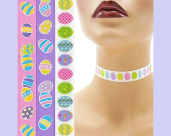 Custom Easter Choker 5/8 inch wide necklace decorated eggs printed on satin ( 16 - 17 mm width) Your Size + pink purple white